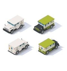 Isometric armored truck vector