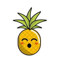kawaii cute funny pineapple vegetable vector image