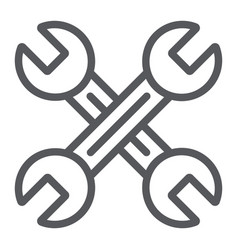 key mechanic line icon auto and tool crossed vector image