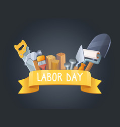 labor day instruments with label vector image