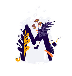 latin letter m in colors and things letter in vector image