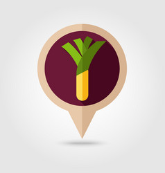 Leek flat pin map icon vegetable vector