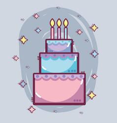 Line delicious cake happy birthday celebration vector