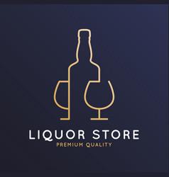 liquor store logo bottle whiskey rum or brandy vector image