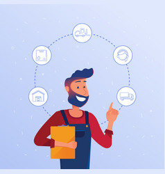 Logistics manager choosing logisitics option vector
