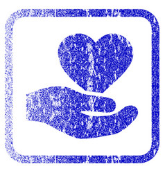 Love heart offer hand framed textured icon vector
