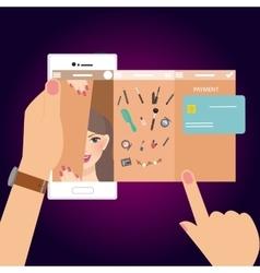 Make-up beauty woman mobile shopping e-commerce vector