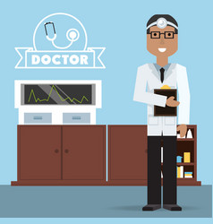 man doctor with glasses and his consulting room vector image