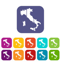 Map of italy icons set vector