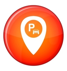 Map pointer with car parking icon flat style vector image