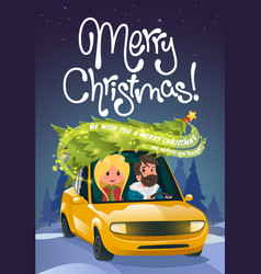 merry christmas family holidays on car vector image