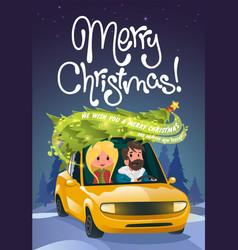 Merry christmas family holidays on car vector