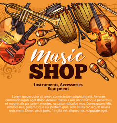 Music shop sketch of musical instruments vector