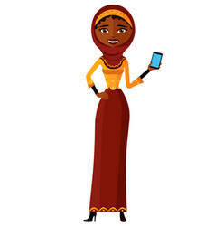 Muslim arab business woman on the phone flat vector