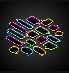 neon isometric speech bubble on a transparent vector image