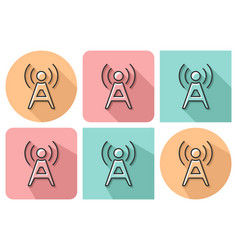 outlined icon of radio repeater with parallel and vector image