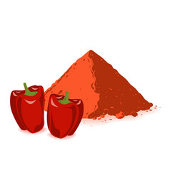 Paprika powder and bell pepper isolated on white vector