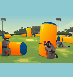 people playing paintball vector image