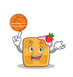 Playing basketball waffle character cartoon design vector