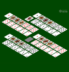 Playing cards isometric set on green background vector