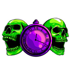 pocket watch with human skulltime and death vector image