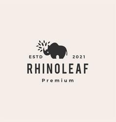 Rhino leaf hipster vintage logo icon vector
