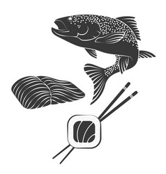 Salmon sushi vector
