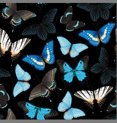 seamless pattern with blue and black butterflies vector image