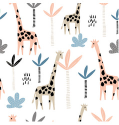 seamless pattern with giraffe and palms tree vector image