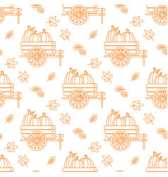 Seamless pattern with outline pumpkin cart and vector
