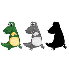set of crocodile character vector image