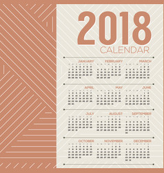 Simple and clean 2018 printable calendar vector