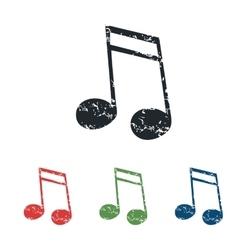 Sixteenth note grunge icon set vector