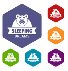 Sleeping dream icons hexahedron vector