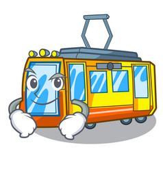 Smirking electric train isolated with cartoon vector