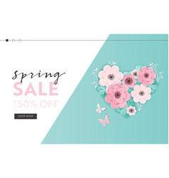 spring sale website template paper cut flowers vector image