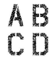 Stencil angular spray font letters A B C D vector