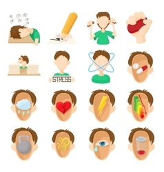 Stress icons set cartoon style vector image