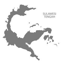 sulawesi tengah indonesia map grey vector image