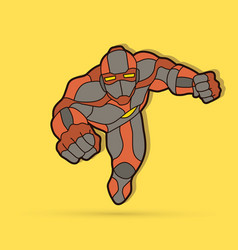 Superhero robot flying action cartoon superhero vector