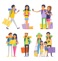Tourist group of happy people goes to vacation vector
