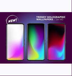 trendy holographic wallpaper collection colorful vector image