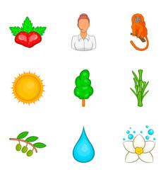 Tropical beast icons set cartoon style vector