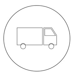 truck icon black color in circle or round vector image