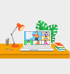 Virtual class online school distance learning kids vector