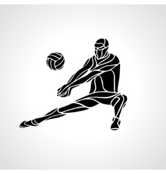 Volleyball player receive ball silhouette vector