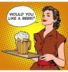 Waitress beer on a tray vector