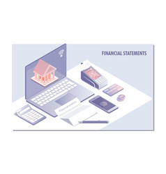 Web page design templates for financial statement vector