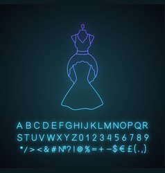 Wedding dress neon light icon vector