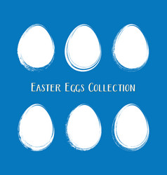 white easter egg silhouettes brush stroke vector image